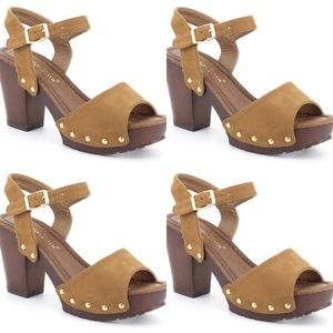 Nature Retro camel platform ankle strap SANDALS